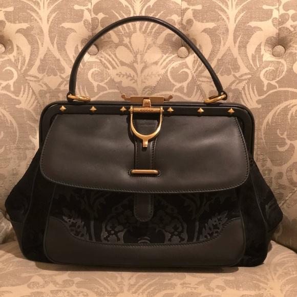 130825d6c7d Gucci Handbags - Gucci Leather   Suede Lady Stirrup Top Handle Bag